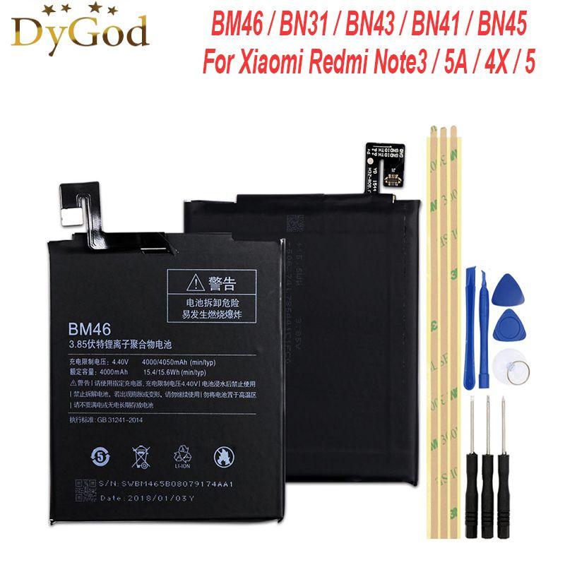 BM46 BN41 BN43 BN45 BN31 batterie pour Xiaomi Redmi Note 3/3 Pro Note 4/4X Note 5 5A remplacement batterie accumulateur AKKU PIL + outils