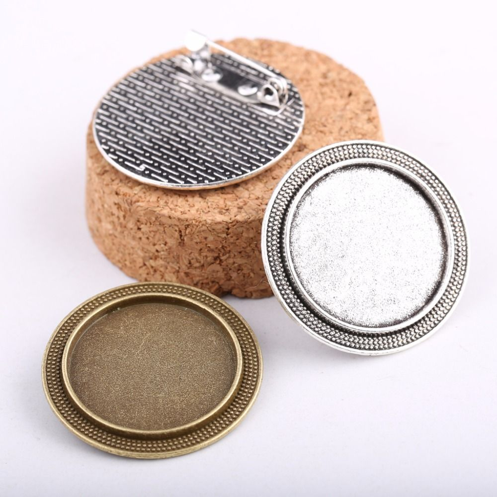onwear 10pcs 25mm metal blank brooch base antique silver+bronze cabochon settings diy broches bezel trays for jewelry making
