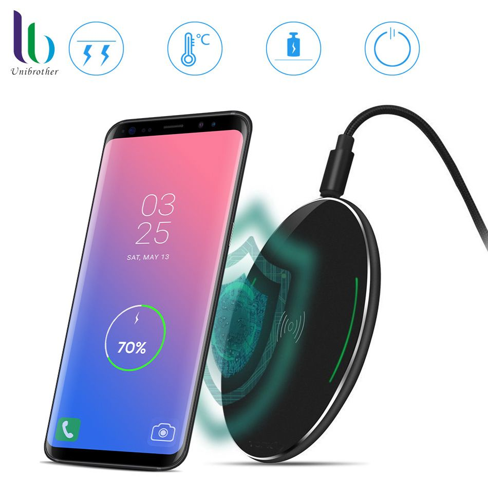 UNIBROTHER Ultra slim Wireless Charger 10W Fast Charging Pad for Iphone X 8 8plus Samsung Galaxy S8 Note 8 S7 Edge Smart Display