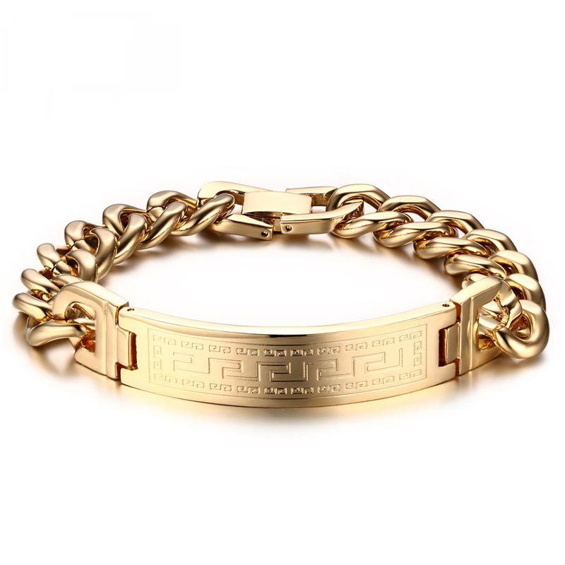 Heyrock Greek Key Pattern Bracelets Men's Stainless Steel Charm Chain Gold & Silver Plated