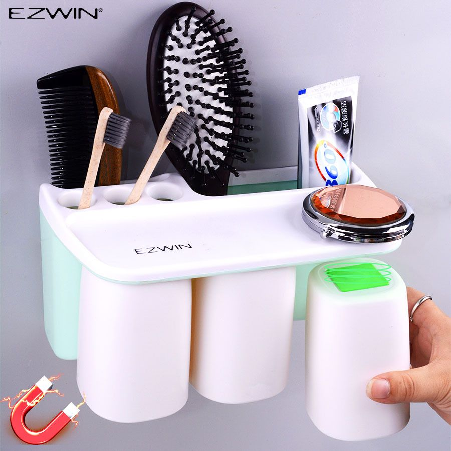 EZWIN Magnetic attraction toothbrush holder 3 cup toothpaste Shaver Shelf Storage home bathroom washroom accessories set Wall