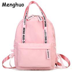 Menghuo Large Capacity Backpack Women Preppy School Bags For Teenagers Female Nylon Travel Bags Girls Bowknot Backpack Mochilas