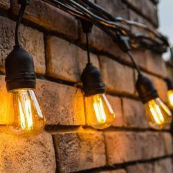 Hitam Tahan Air Outdoor String Lampu dengan Menggantung Soket Dekorasi Cafe Vintage Bistro Patio Taman Teras Halaman Belakang Tidak Ada Lampu