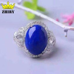 Batu alam biru Lapis Lazuli gem cincin Asli Padat 925 sterling silver Wanita perhiasan Lady big rings