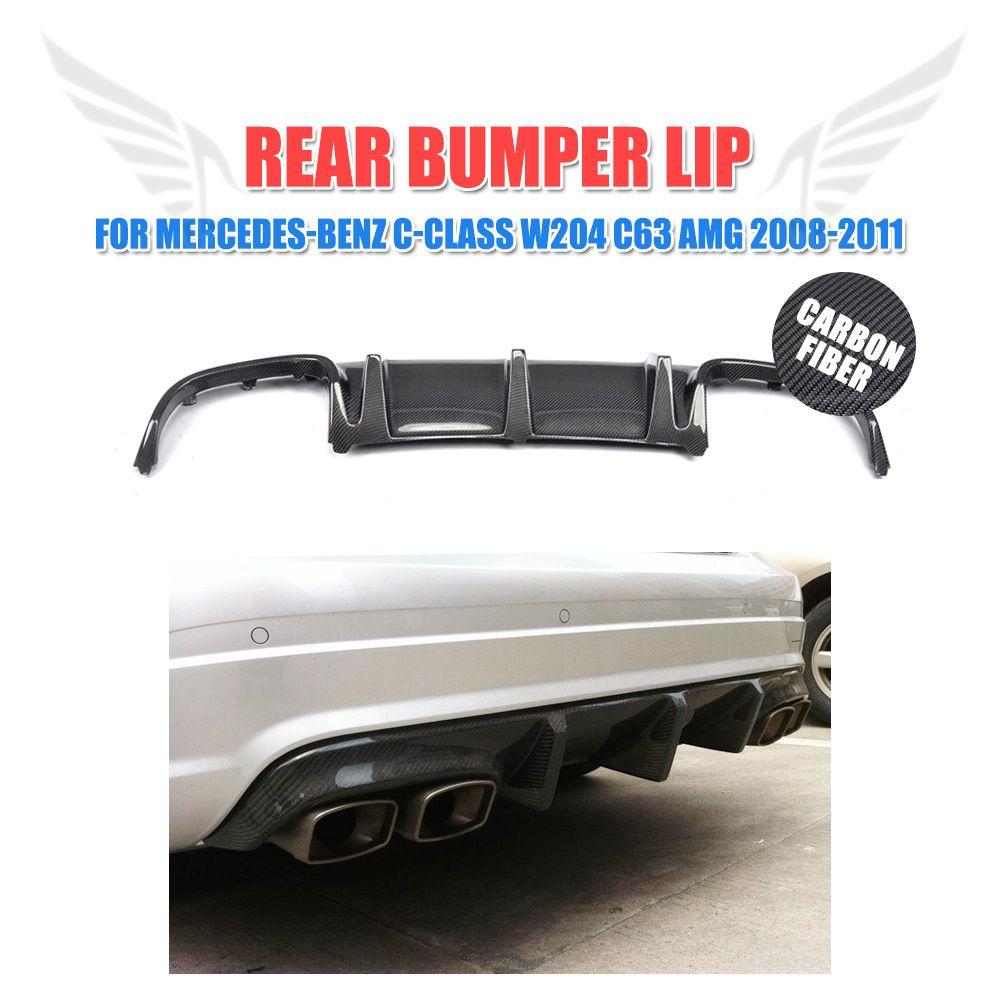 Carbon Fiber Rear Diffuser Lip Back Bumper Exhaust Guard for Mercedes Benz W204 C63 AMG Sedan 4 Door Only 2008 - 2011 TS Style