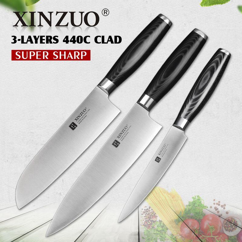 XINZUO 3 stücke küchenmesser set dienstprogramm kochmesser high carbon 3 schichten 440C verkleidet stahl Küchenmesser super scharf santoku messer