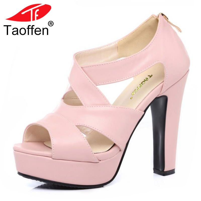 TAOFFEN Size 31-43 Sexy Peep Toe White Gladiator Sandals Summer Women Shoes Thick High Heel Zipper Wedding party Shoes Women