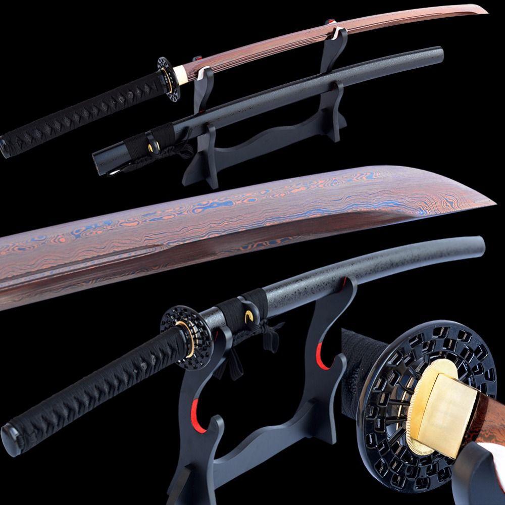 Brandon Schwerter Damaskus Katana Gefaltet Stahl Electropalted Rot Klinge Sharp UnokubiZukuri Japanischen Samurai Schwert Full Tang Kann Cut