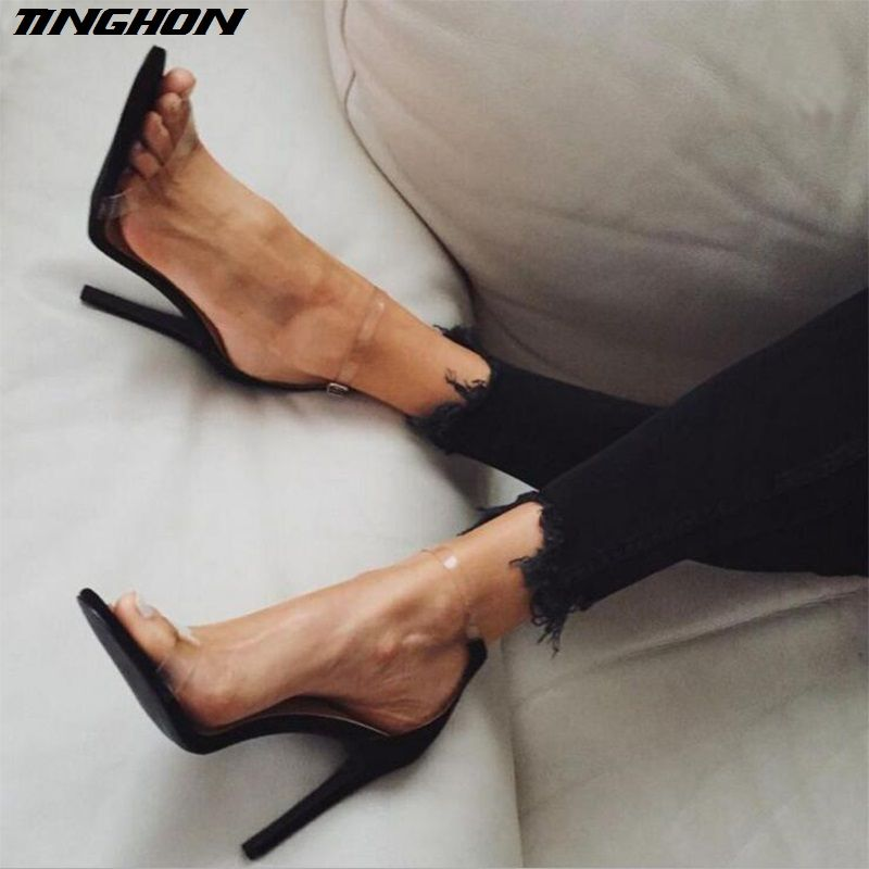 TINGHON Hot Sale PVC Women Platform Sandals 11.5CM Super High Heels Waterproof Female Transparent Crystal Wedding Shoes