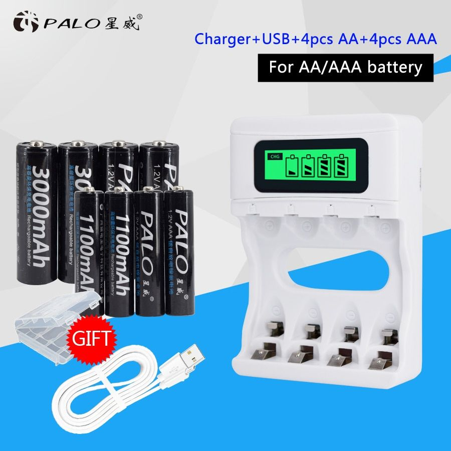 Smart LCD Display USB Battery Charger For Ni-Cd Ni-Mh AA AAA Rechargeable Batteries+<font><b>4pcs</b></font> AA Batteries+<font><b>4pcs</b></font> AAA Batteries