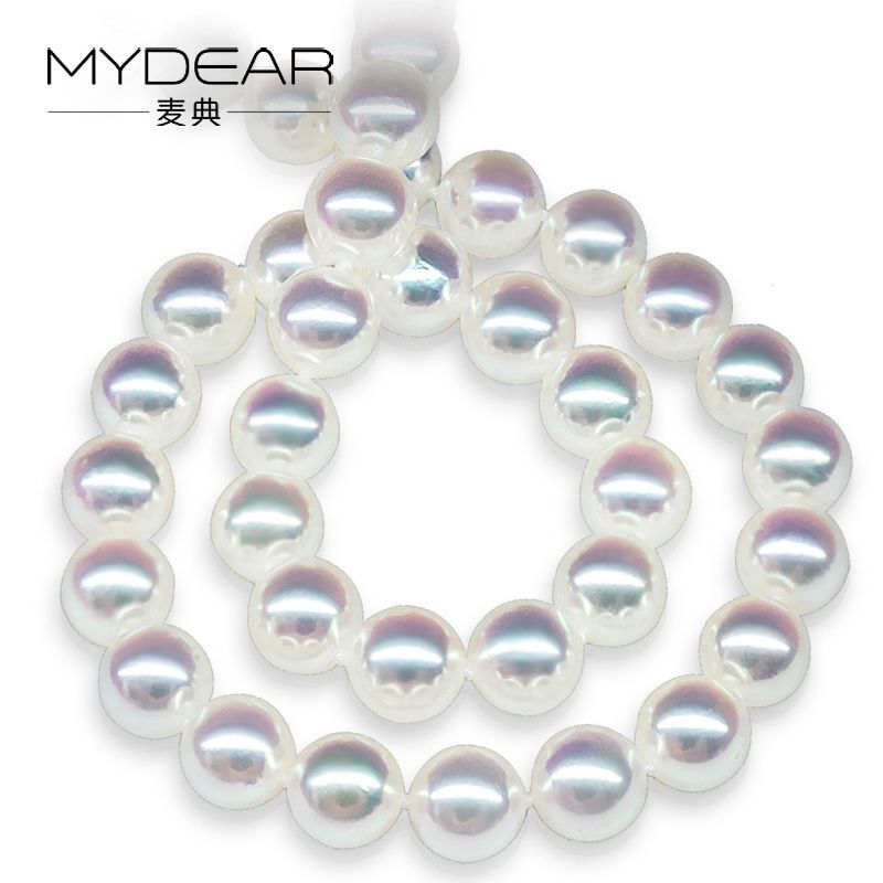 MYDEAR Pearl Jewelry Simple Pearl Necklace Elegant Style Natural 6.5-7mm White Akoya Pearl Necklace,Glossy Pearl Choker Necklace