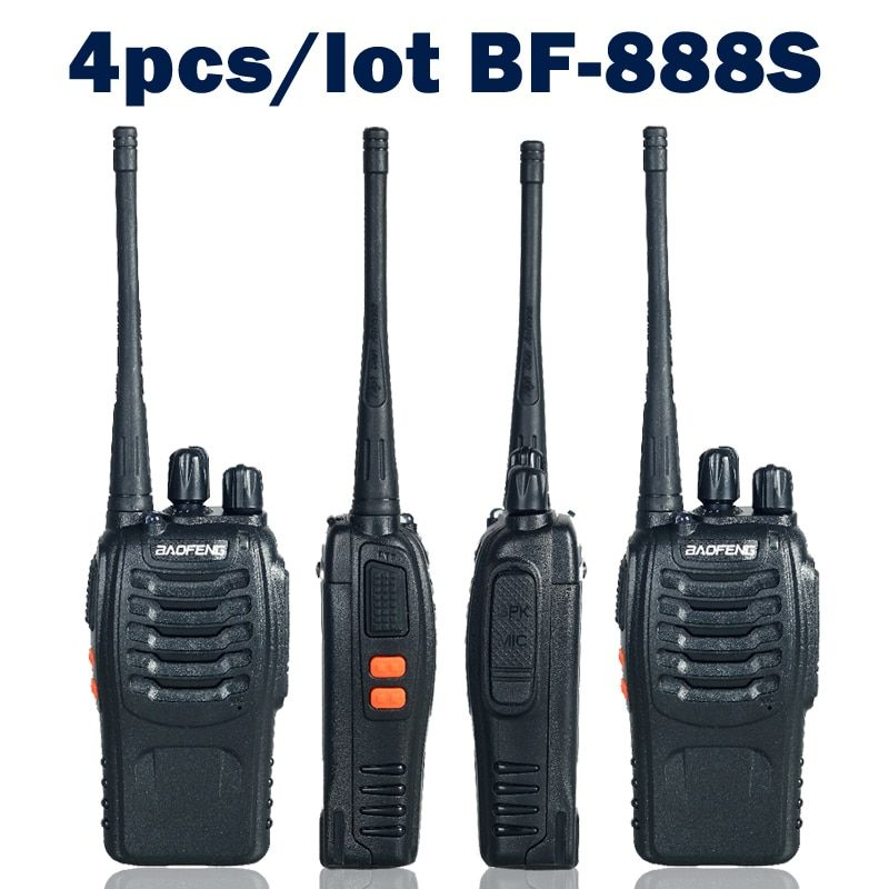 4 pièces/lot Baofeng bf-888s bidirectionnel Radio talkie-walkie double bande 5W poche Pofung bf-888s 400-470MHz UHF Radio Scanner