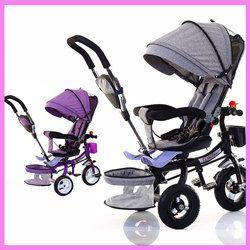 Triciclo niño plegable bicicleta de tres ruedas cochecito bebé bicicleta asiento giratorio bebé cochecito para niños carro