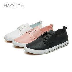 2018 Primavera Verano nuevas mujeres de cuero ocasionales Zapatos de cuero para las mujeres planas Zapatos blanco señoras cordón Mocasines Zapatos mujer
