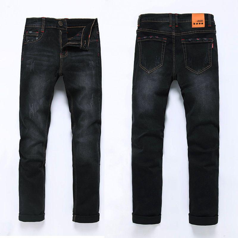 High Quality 2017 Fashion Demin Jeans Men Slim Fit Black & Blue Color Plus Bigger size 28-46 48