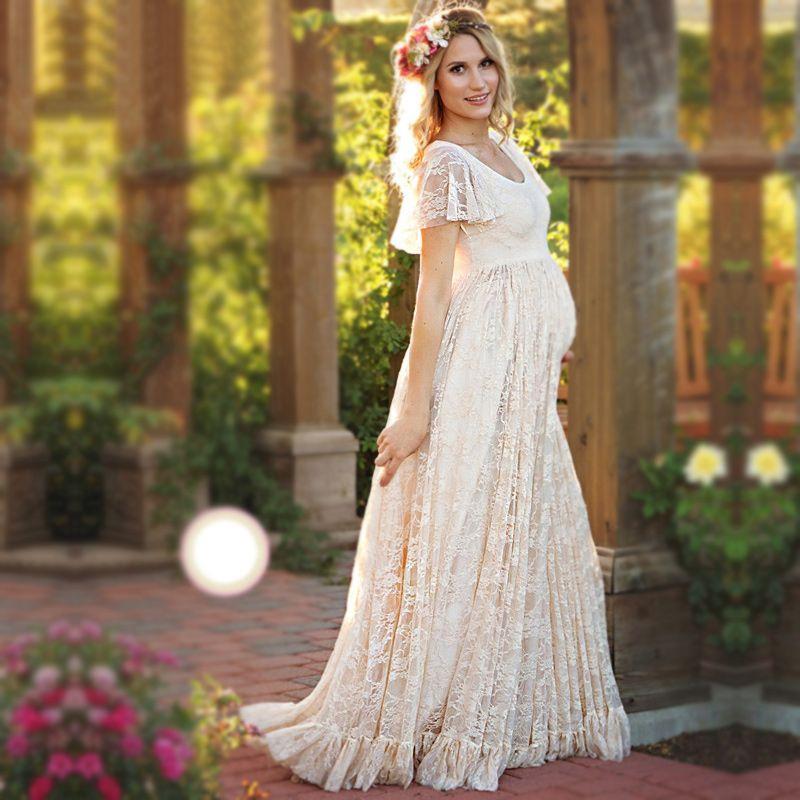 Maternity Dress Maternity Photography Props White Lace Sexy Maxi Dress Elegant Pregnancy Photo Shoot Women Maternity Lace Dress