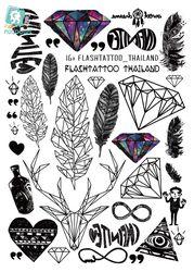 Rocooart A6080-201 Big Black tatuagem Taty Body Art Temporary Tattoo Stickers Feather Rainbow Diamond Glitter Tatoo Sticker