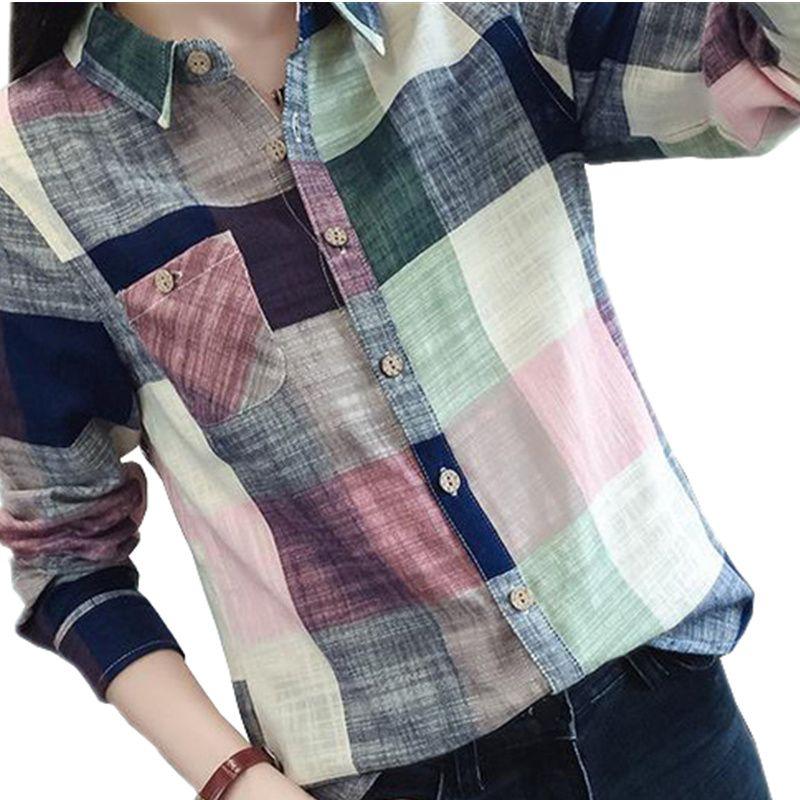 2016 Hot Sale Ladies Female Casual Cotton Long Sleeve Plaid Shirt Women Slim Outerwear Blouse Tops Blusas Size Chemise Femme