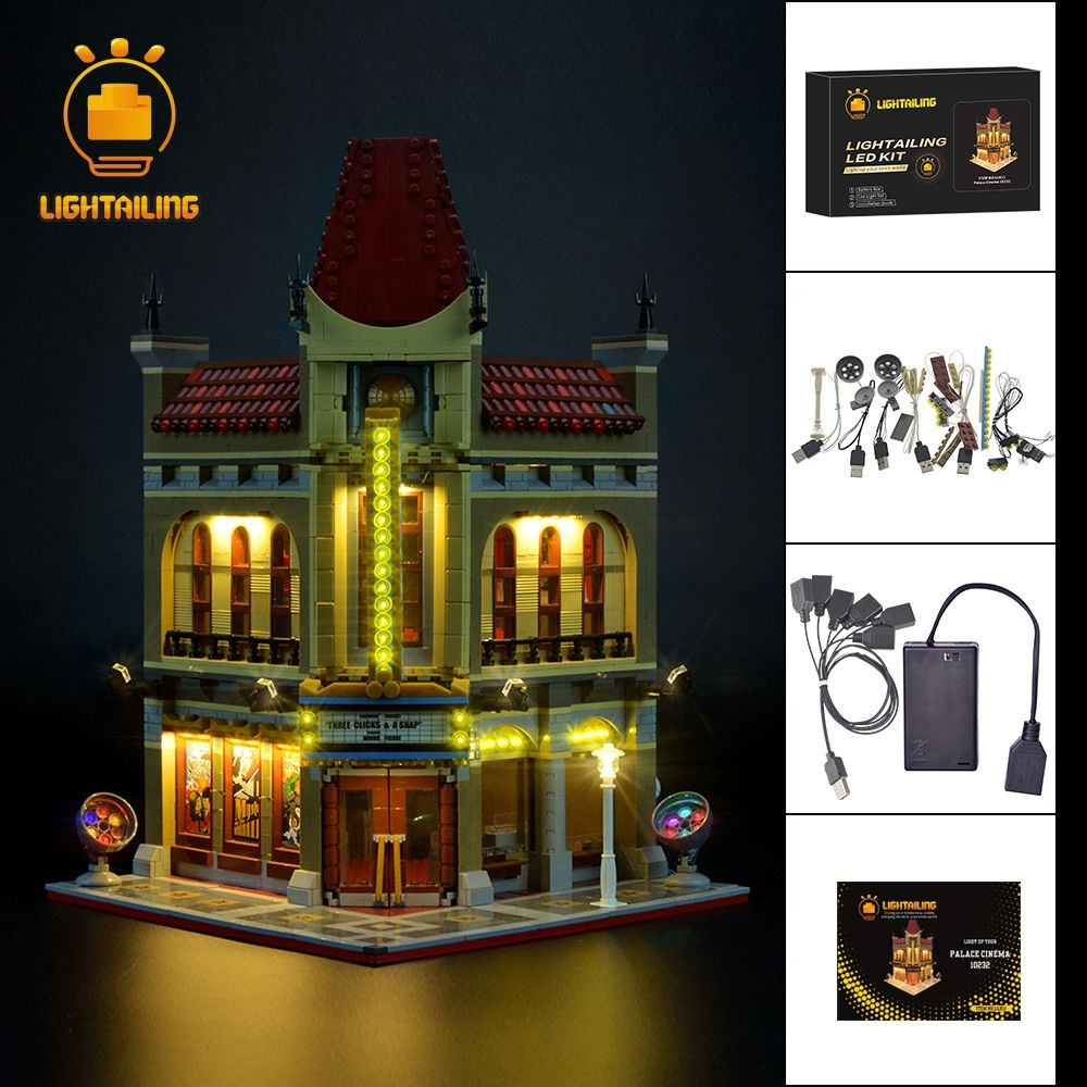LIGHTAILING Led Light Up Kit For Creator Palace Cinema Light Set Compatible With 10232 And 15006 (NOT Include The Model)