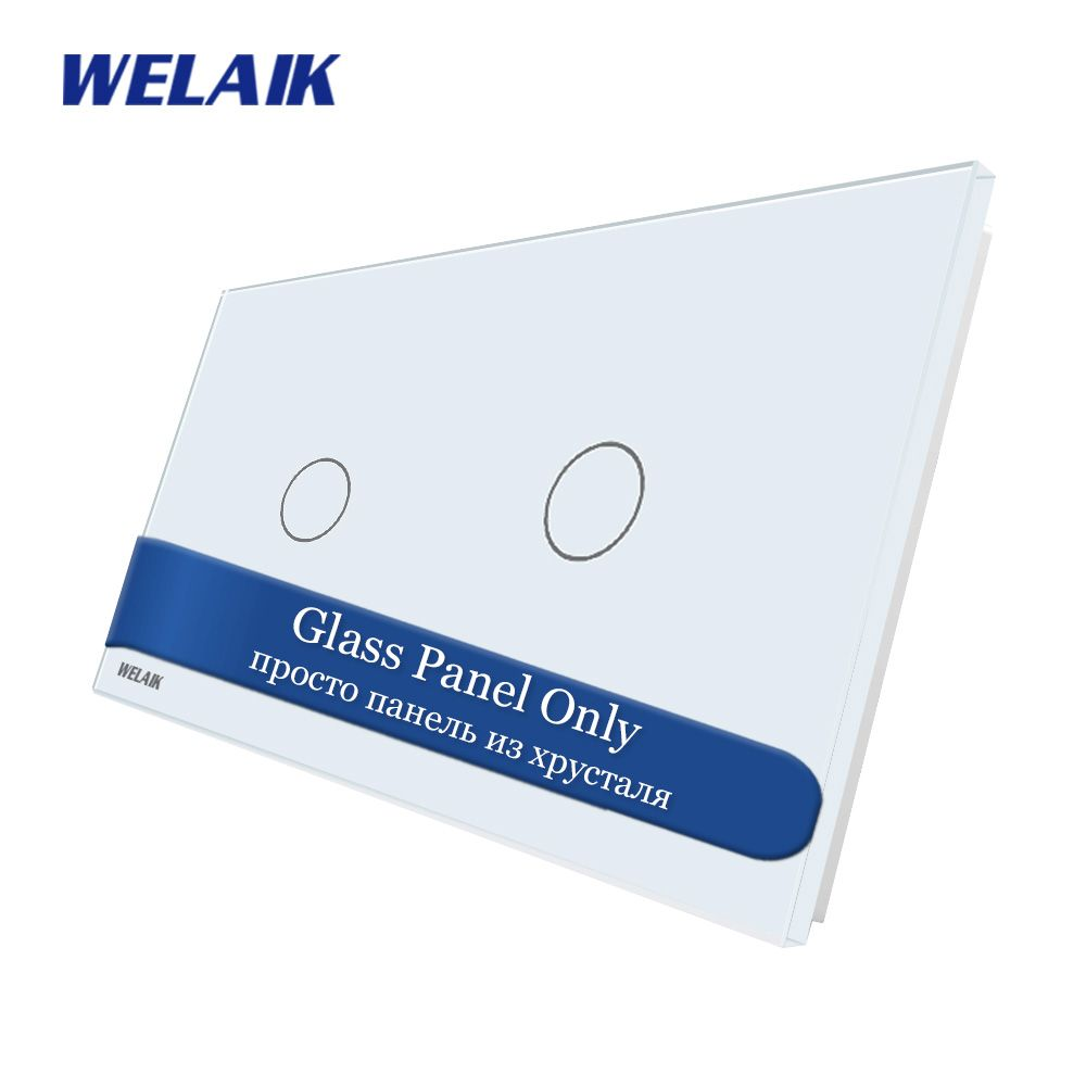 WELAIK EU Touch-Switch DIY-Parts-Glass Panel-Only Wall-Light-Switch Crystal-Glass-Panel 1Gang+1Gang A2911W/B1