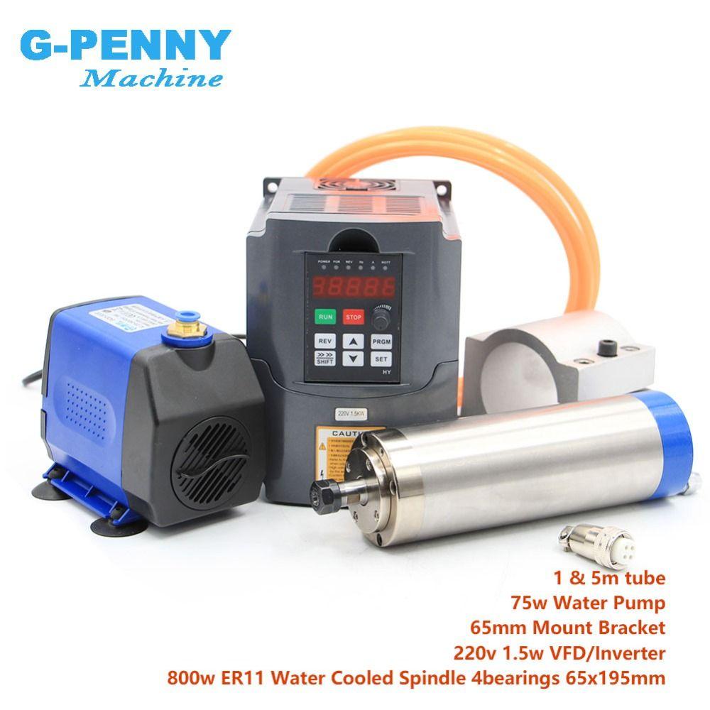 Wasser gekühlt spindel kit 800 w wasser kühlung spindel 4 lager 65mm durchmesser 0.8kw spindel & 1.5kw inverter/ VFD & 75 w wasserpumpe