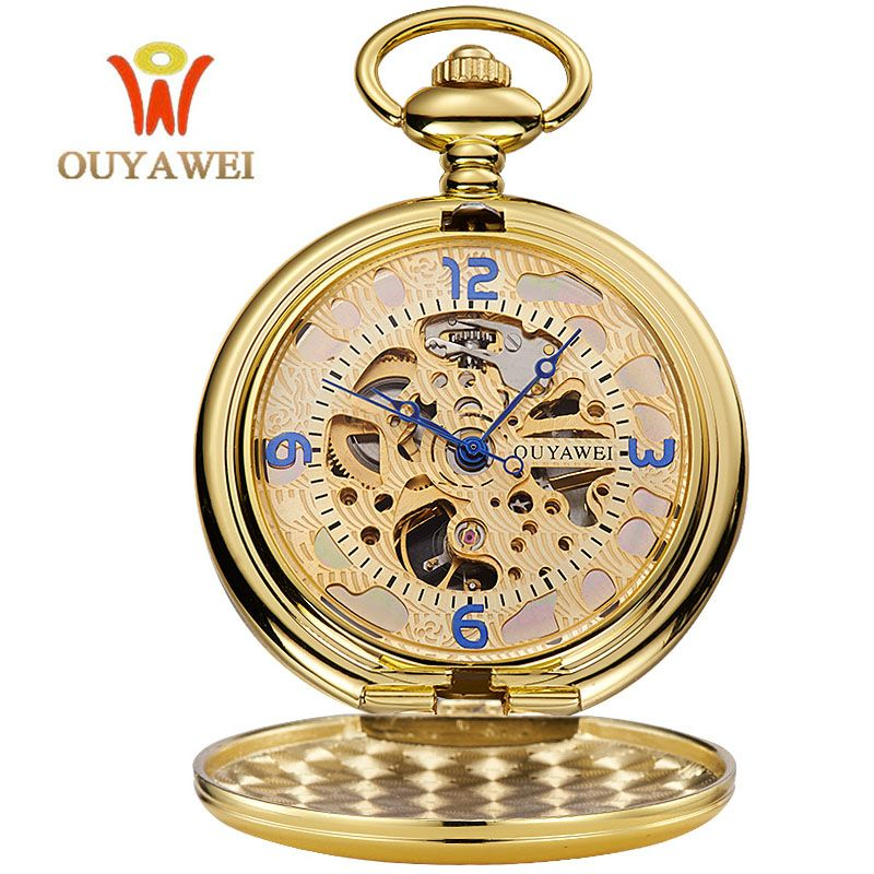 OUYAWEI Gold Pocket Watch Mechanical Men Vintage Pendant Watch Necklace Chain Antique Fob Watches Relogio bolso