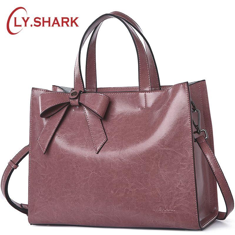 LY.SHARK Genuine Leather Messenger Bag Women Handbag Crossbody Bag For Women Shoulder Bags Female Briefcase Ladies Tote Bag Bow