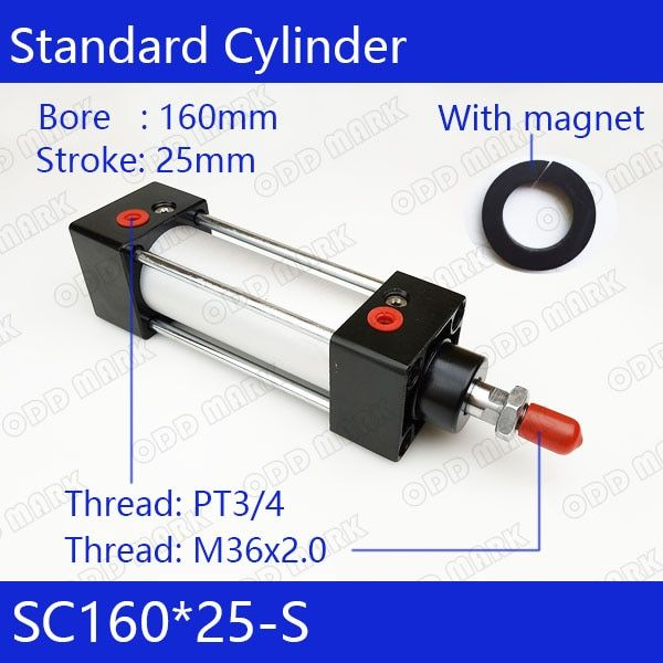 SC160 * 25-S 160mm Bohrung 25mm Hub SC160X25-S SC Series Single Rod Standard-pneumatik-druckluftzylinder SC160-25-S