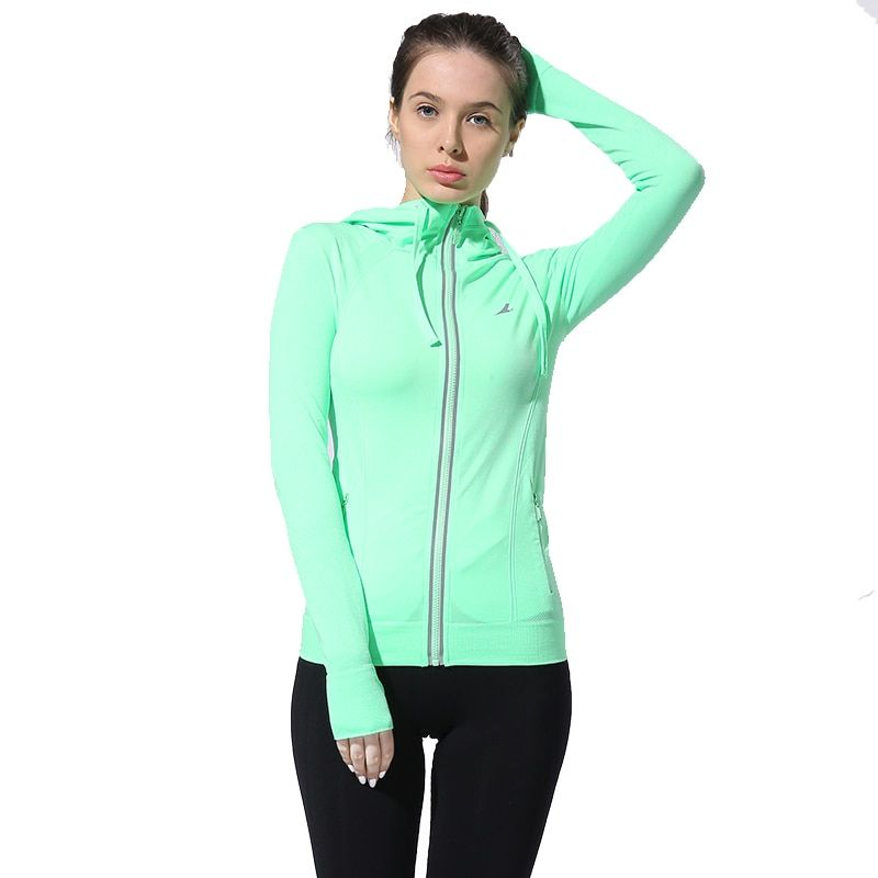 BESGO Female Running Zipper Coat Sports Yoga Training Workout Fitness Breathable Tops Long Sleeve Gym Sweatshirts