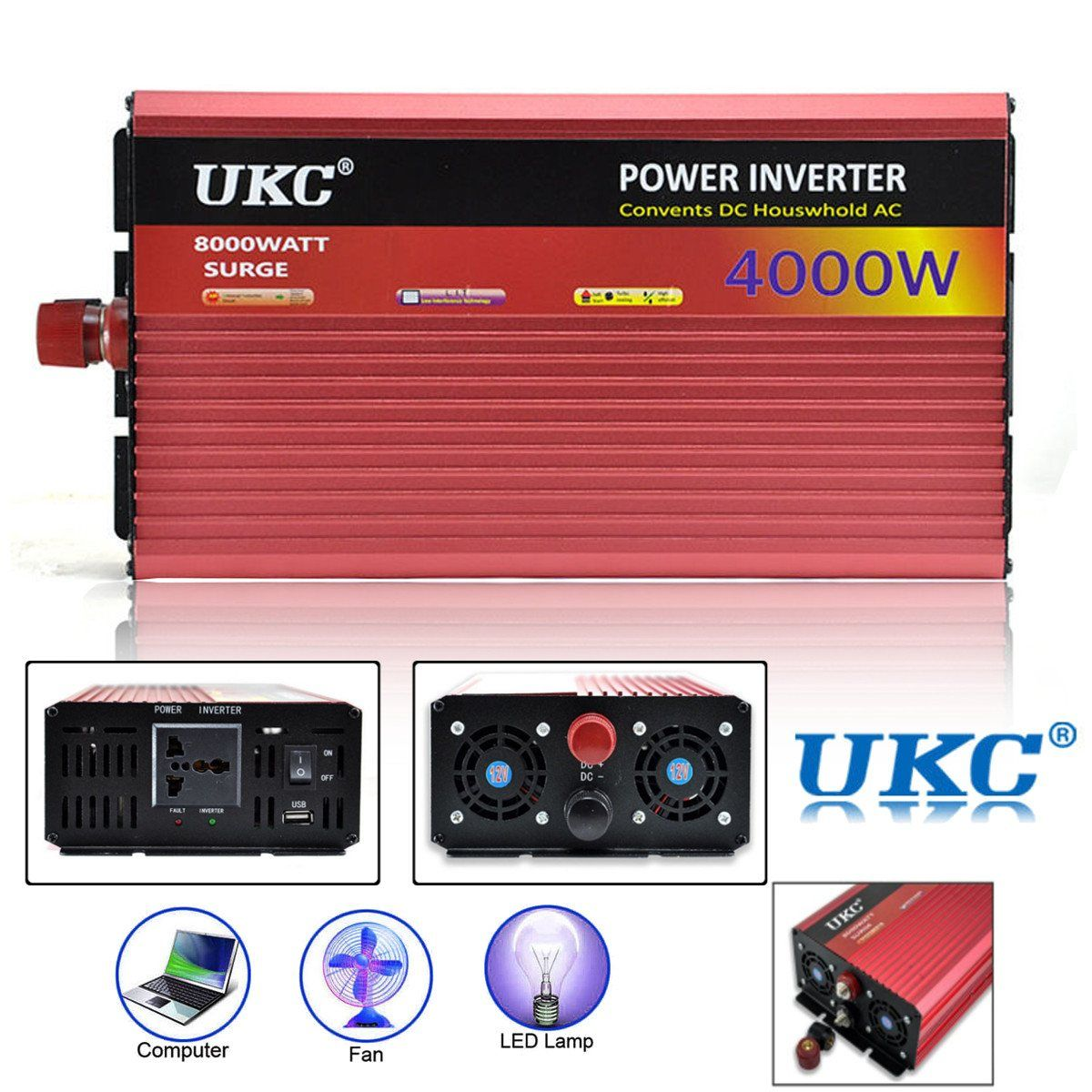 Power Inverter 12V 220V 4000W 8000W Peak- Modified Sine Wave Power Inverter DC12V to AC220V Voltage Transformer Converter USB