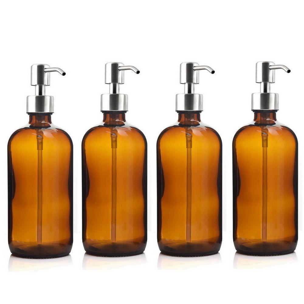 4pcs 16 Oz Amber Glass Boston Round Bottles w/ Stainless Steel Pump for Kitchen Bathroom Liquid Soap Essential oils Lotion 500ml