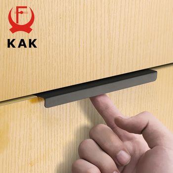 KAK Mode Noir Caché Cabinet Poignées En Alliage de Zinc de Cuisine Armoires Poignées de Tiroir Boutons Meubles Chambre Poignée De Porte Matériel