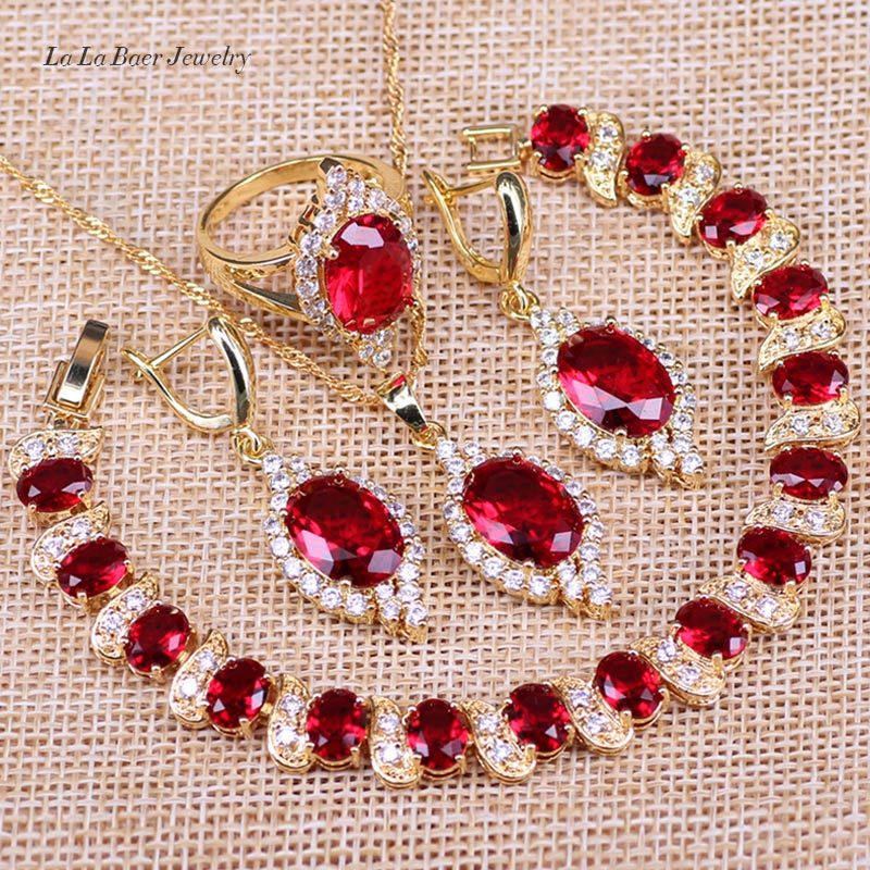 L&B Vintage Round Red Garnet Gold Color Jewelry Sets Drop Earrings Bracelets Set Necklace Pendant Rings For Women