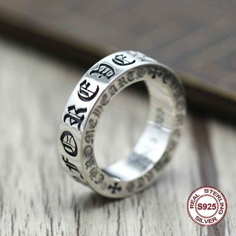 S925 pure silver men's ring personality Do old restoring ancient ways The punk style The cross - classic ring of men and women