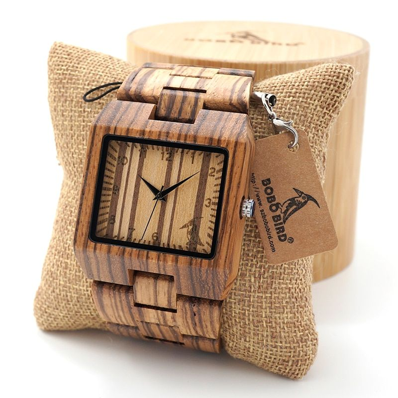 BOBO BIRD Rectangle Zebra Mens Wooden Wrist Watch Top Brand Luxury Quartz Watches with Full Wooden Band in Gift Box