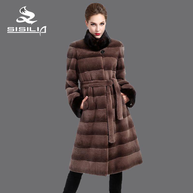 SISILIA 2016 New women mink coat,Genuine Leather,Belt rex rabbit fur coat,Fashion slim stripe fur coat, Mandarin collar