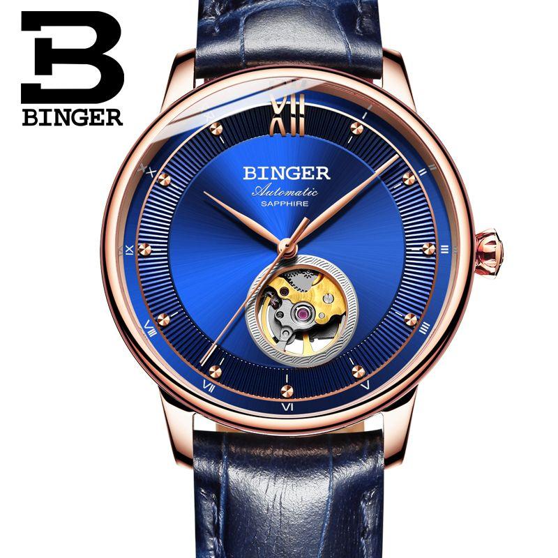 Schweiz BINGER Uhren Männer Ultra-dünne Japan 90S5 Automatische Movemt Tourbillon sapphire Uhr Mechanische Armbanduhren B-1180-2