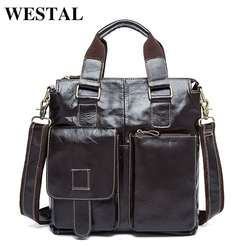 WESTAL Genuine Leather Men Bag men's Briefcase leather Men's Messenger Bags male Tote Shoulder bag crossbody bags Handbags 8259