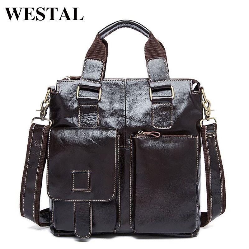 WESTAL Genuine Leather Men Bag men's Briefcase leather Men's Messenger Bags male Tote Shoulder bag crossbody bags Handbags 8259