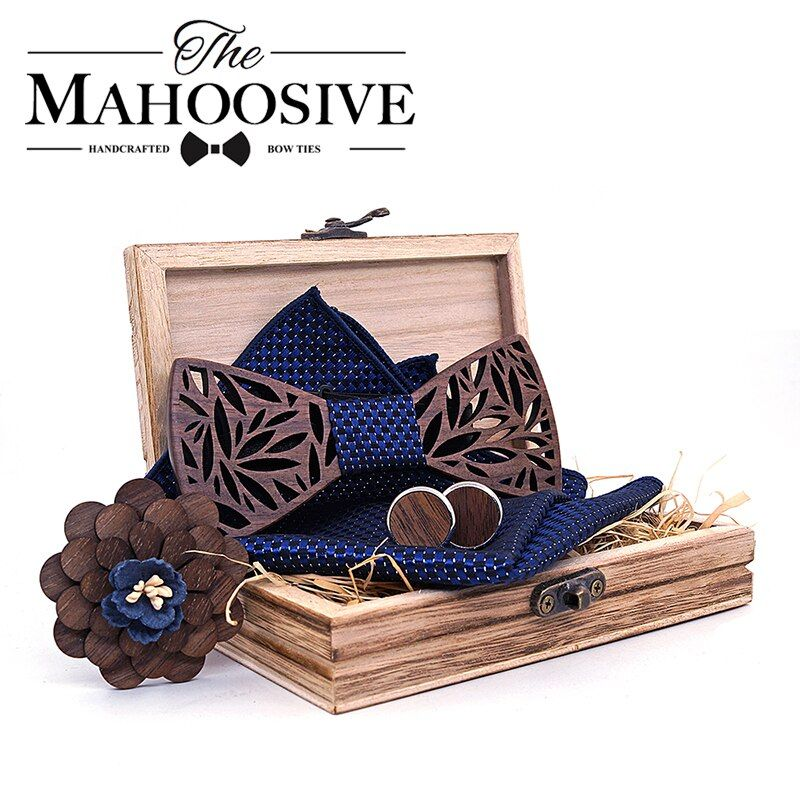Paisley Wooden Bow Tie Handkerchief Set Men's Plaid Bowtie Wood Hollow carved cut out Floral design And Box Fashion Novelty ties