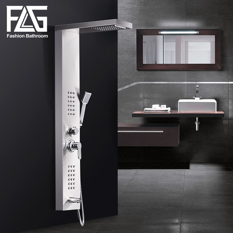 FLG Shower Panels Brushed Nickel Rain Waterfall Shower Panel Wall Mounted Massage System Hand Shower Faucet Shower Column Set