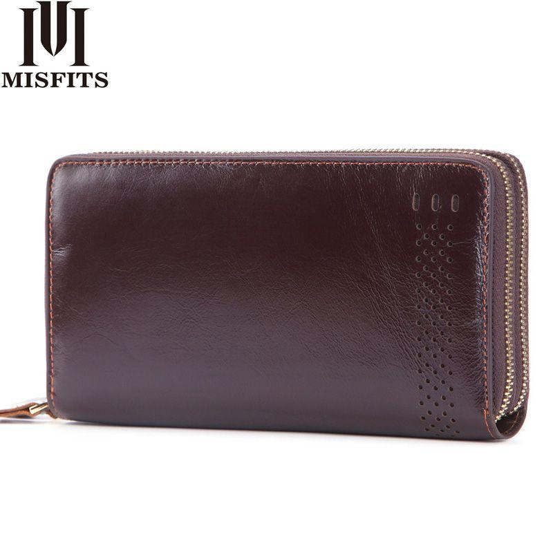 MISFITS Double Zipper Men Clutch Wallet Genuine Leather Business Wallet Brand Cowhide Male Purses Passport Holder Long Phone Bag