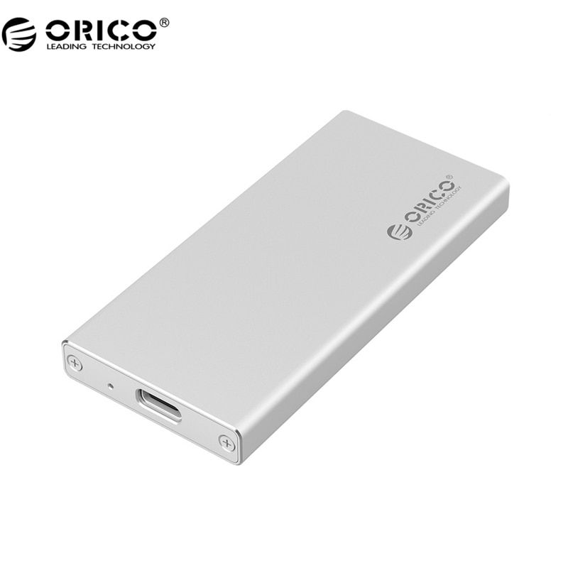 ORICO MSA-UC3 Type C <font><b>Port</b></font> Aluminum mSATA to USB 3.0 SSD Enclosure Adapter Case, Built-in ASM1153E Controller - Silver