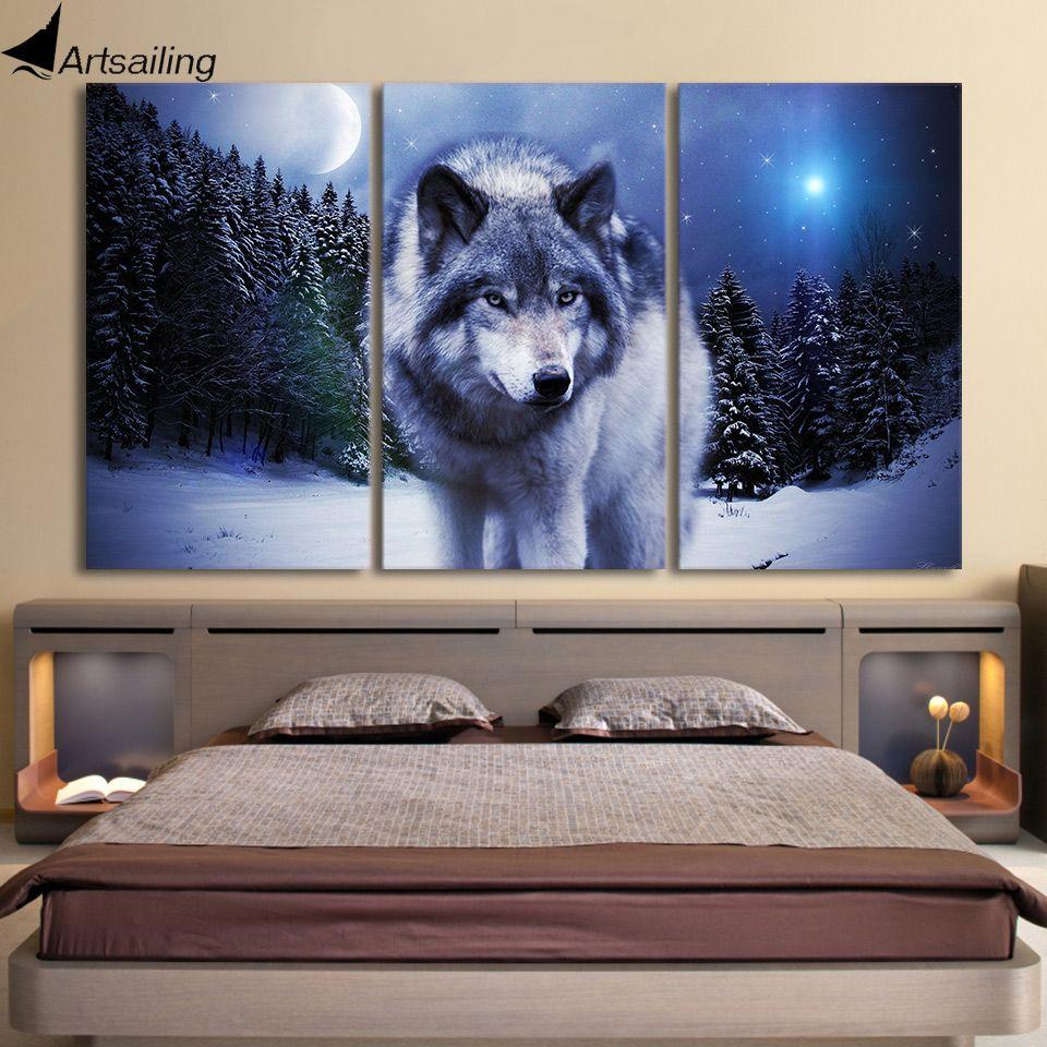 Комплект из 3 предметов холст Книги по искусству Картины печатных снег Wolf Moon стены Книги по искусству печати холст Картины Домашний декор дл...