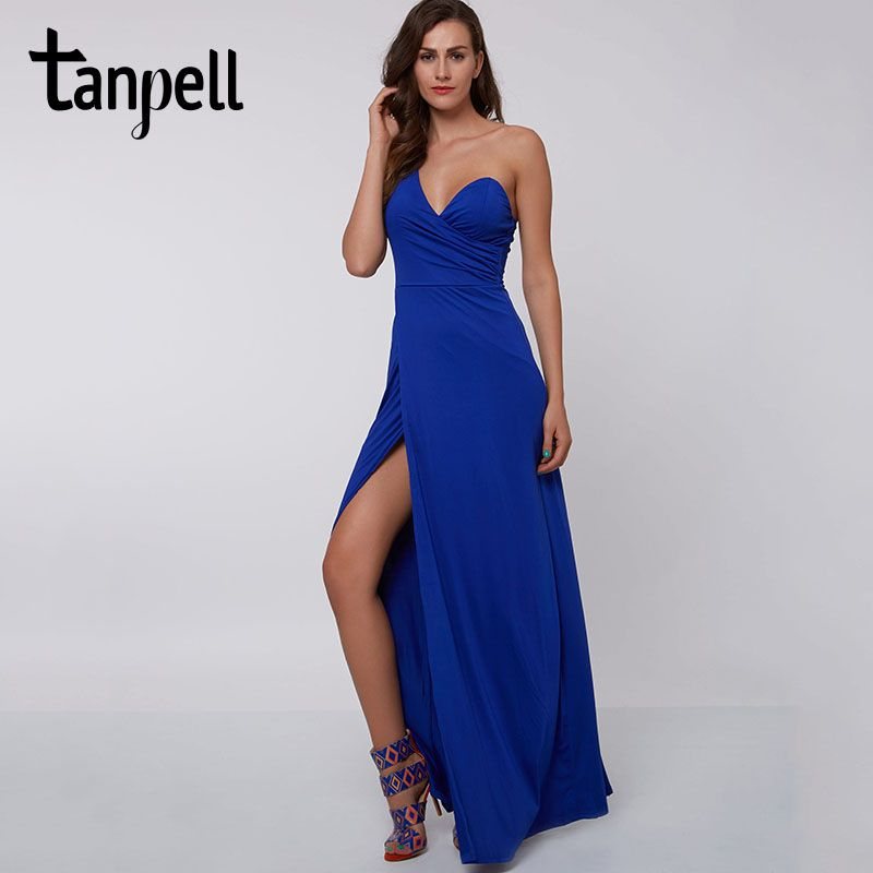 Tanpell split front evening dress cheap sexy royal blue Floor-Length one shoulder dress pleats burgundy party long evening dress