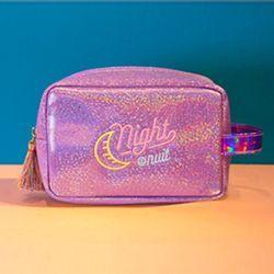 Bulan Shiny Gilrs Jumbai Wanita Tas Kosmetik Make up Kasus Pouch Bordir Cahaya Travel Clutch Kotak Perlengkapan Mandi Mencuci Tas Bentoy