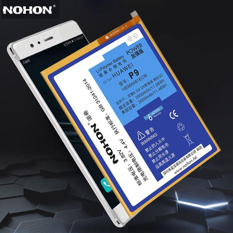 Original NOHON HB366481ECW Battery For Huawei P9 Honor 8 5C G9 G9 Lite EVA-L19 3000mAh Replacement Li-Polymer Bateria Free Tools