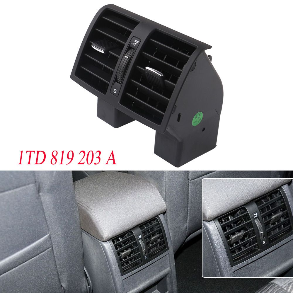 YSM Black Center Console Rear AC Air Conditioning Outlet Vent For VW Caddy Touran 2004-2015 1TD819203A 1T0 819 203 A 1TD 819 203