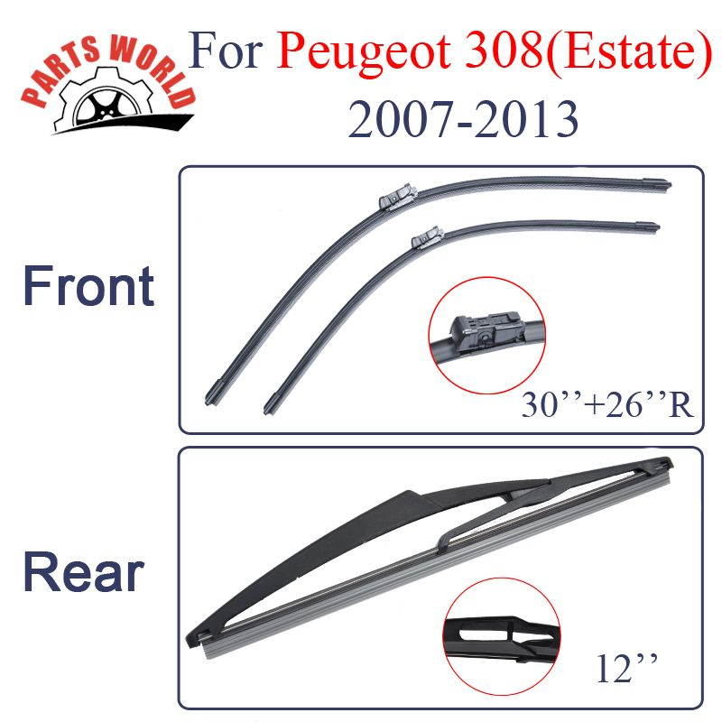 Front And Rear Wiper Blades For Peugeot 308 Eatate 2007 2008 2009 2010 2011 2012 2013 Windshield Rubber Car Accessories