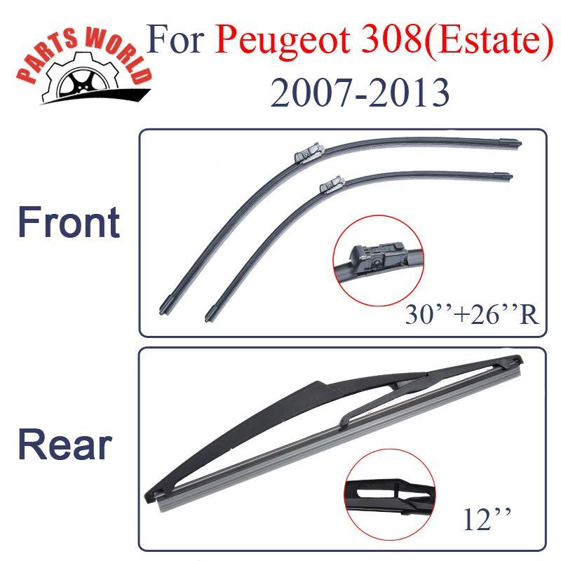 Partsworld Balais D'essuie-Glace Pour Peugeot 308 Eatate 2007 2008 2009 2010 2011 2012 2013 Pare-Brise Voiture Accessoires